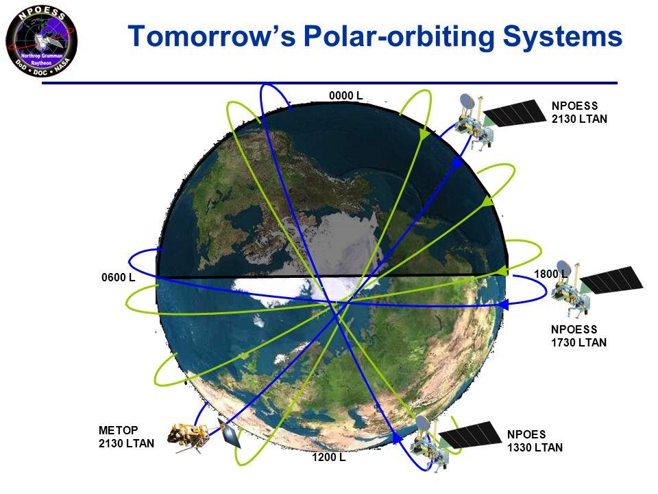 Tomorrow's Polar-orbiting Systems METOP 2130 LTAN NPOESS 2130 LTAN NPOES 1330 LTAN NPOESS 1730 LTAN 0600 L 0000 L 1800 L 1200 L