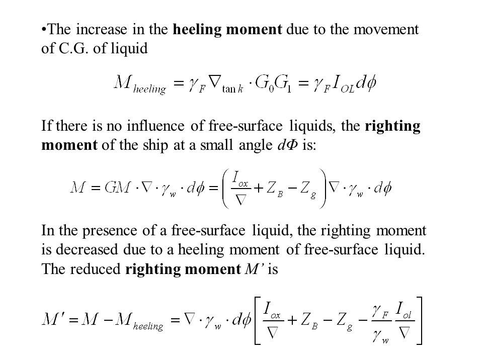 The increase in the heeling moment due to the movement of C.G. of liquid If there is no influence of free-surface liquids, the righting moment of the