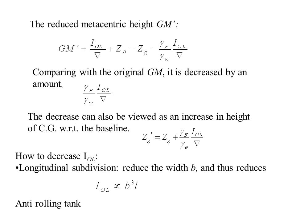The reduced metacentric height GM': Comparing with the original GM, it is decreased by an amount, The decrease can also be viewed as an increase in he