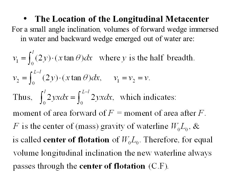 The Location of the Longitudinal Metacenter For a small angle inclination, volumes of forward wedge immersed in water and backward wedge emerged out o