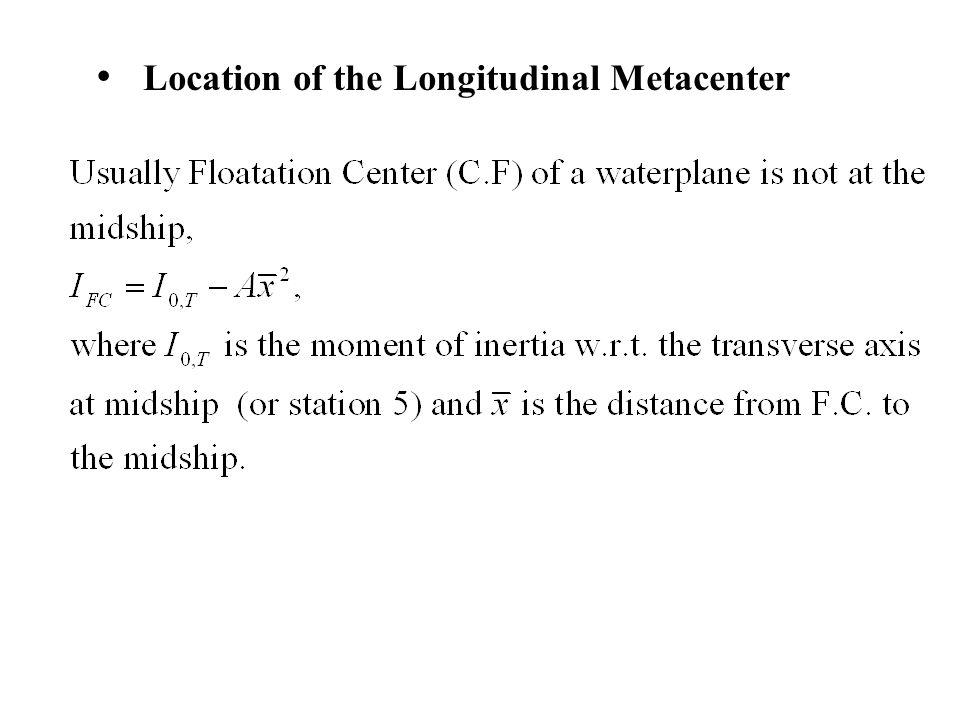 Location of the Longitudinal Metacenter