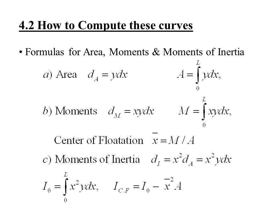 4.2 How to Compute these curves Formulas for Area, Moments & Moments of Inertia