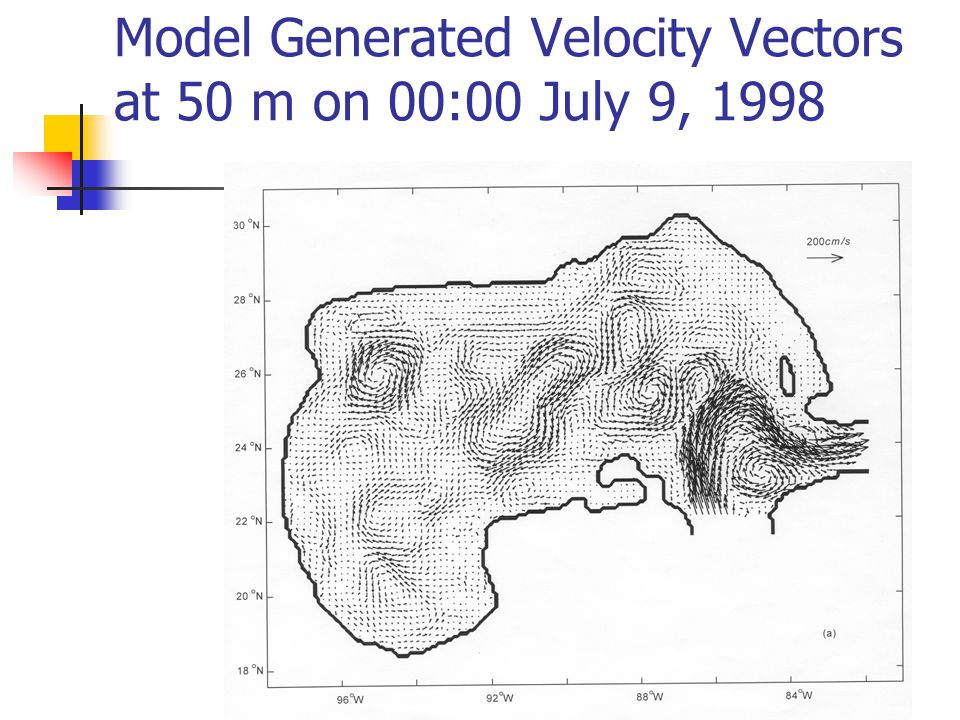 Model Generated Velocity Vectors at 50 m on 00:00 July 9, 1998