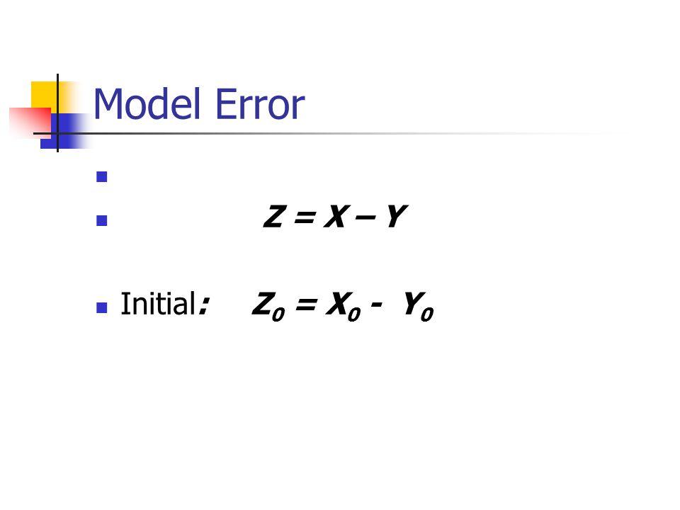 Model Error Z = X – Y Initial: Z 0 = X 0 - Y 0