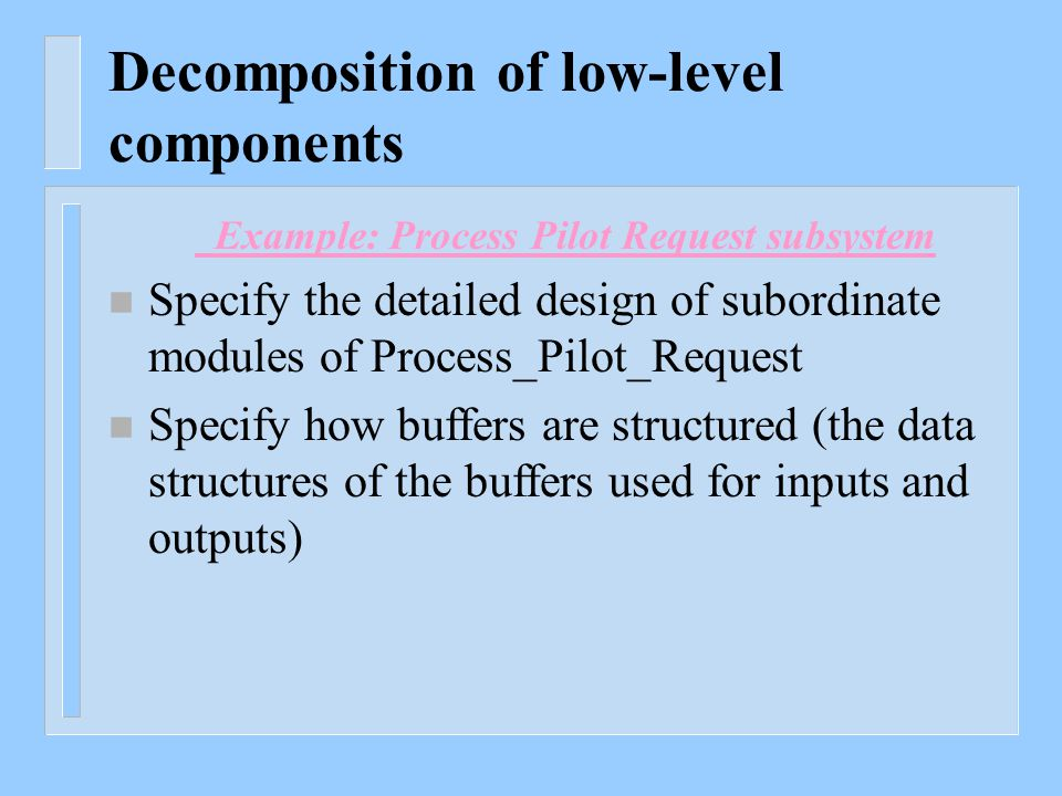 Decomposition of low-level components Example: Process Pilot Request subsystem n Specify the detailed design of subordinate modules of Process_Pilot_R
