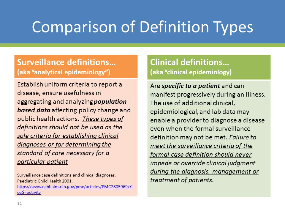 Comparison of Definition Types Surveillance definitions… (aka analytical epidemiology ) Establish uniform criteria to report a disease, ensure usefulness in aggregating and analyzing population- based data affecting policy change and public health actions.