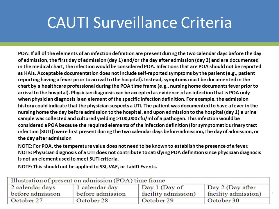 CAUTI Surveillance Criteria POA: If all of the elements of an infection definition are present during the two calendar days before the day of admission, the first day of admission (day 1) and/or the day after admission (day 2) and are documented in the medical chart, the infection would be considered POA.