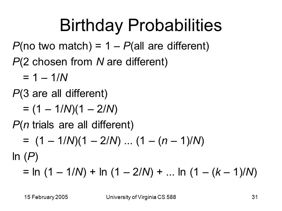 15 February 2005University of Virginia CS 58831 Birthday Probabilities P(no two match) = 1 – P(all are different) P(2 chosen from N are different) = 1 – 1/N P(3 are all different) = (1 – 1/N)(1 – 2/N) P(n trials are all different) = (1 – 1/N)(1 – 2/N)...