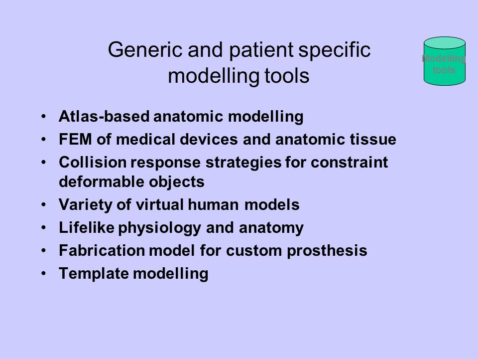 Generic and patient specific modelling tools Atlas-based anatomic modelling FEM of medical devices and anatomic tissue Collision response strategies f