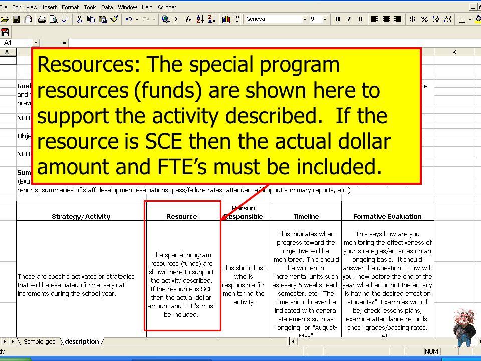 Resources: The special program resources (funds) are shown here to support the activity described.