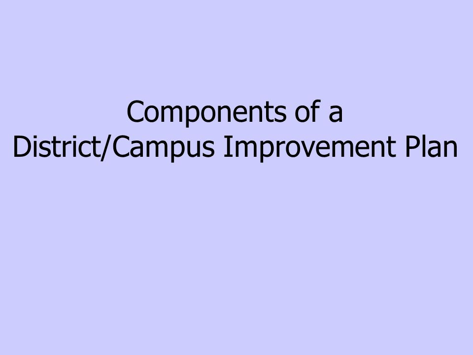 Components of a District/Campus Improvement Plan