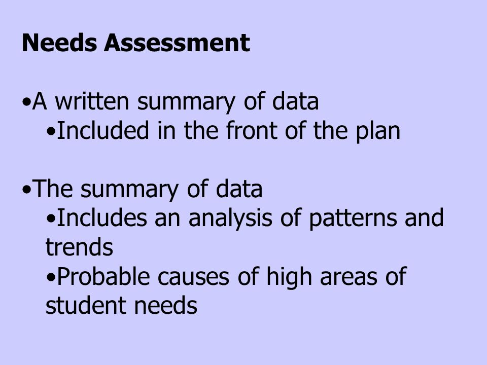Needs Assessment A written summary of data Included in the front of the plan The summary of data Includes an analysis of patterns and trends Probable causes of high areas of student needs