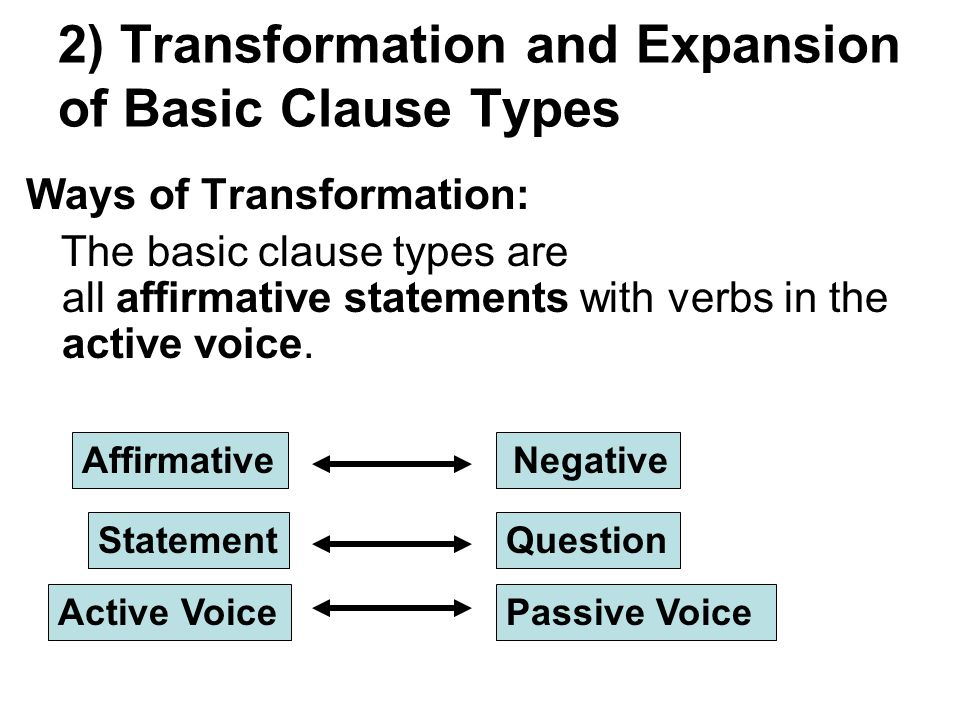 2) Transformation and Expansion of Basic Clause Types Ways of Transformation: The basic clause types are all affirmative statements with verbs in the active voice.