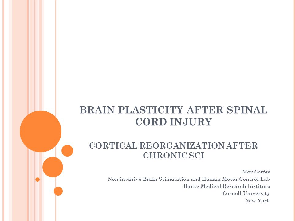 BRAIN PLASTICITY AFTER SPINAL CORD INJURY CORTICAL REORGANIZATION AFTER CHRONIC SCI Mar Cortes Non-invasive Brain Stimulation and Human Motor Control Lab Burke Medical Research Institute Cornell University New York
