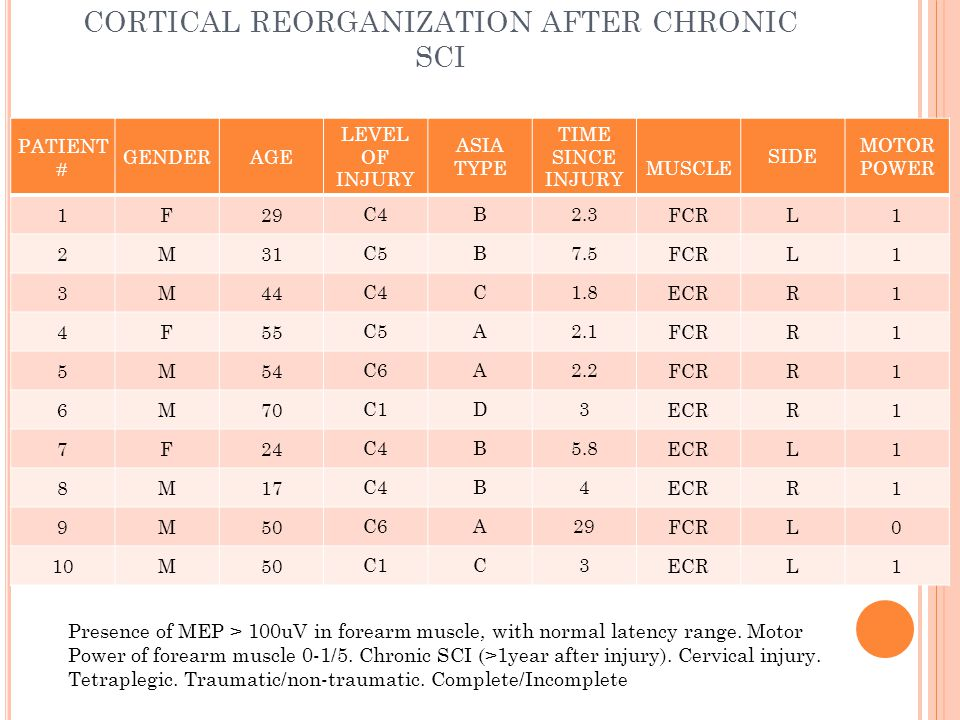 CORTICAL REORGANIZATION AFTER CHRONIC SCI PATIENT # GENDERAGE LEVEL OF INJURY ASIA TYPE TIME SINCE INJURY MUSCLE SIDE MOTOR POWER 1F29 C4B2.3 FCRL1 2M31 C5B7.5 FCRL1 3M44 C4C1.8 ECRR1 4F55 C5A2.1 FCRR1 5M54 C6A2.2 FCRR1 6M70 C1D3 ECRR1 7F24 C4B5.8 ECRL1 8M17 C4B4 ECRR1 9M50 C6A29 FCRL0 10M50 C1C3 ECRL1 Presence of MEP > 100uV in forearm muscle, with normal latency range.