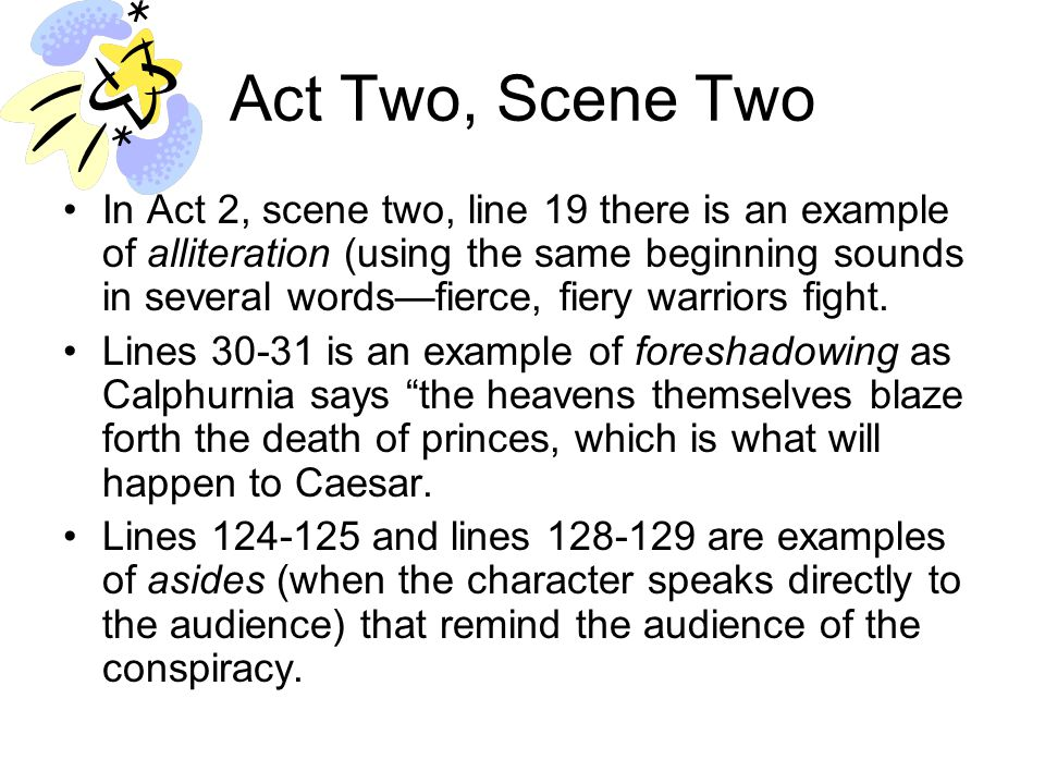 Act Two, Scene Three Act 2, scene 3, lines 1-14 is a soliloquy that creates suspense by making it clear that Caesar's fate hinges on Artemedorius' warning.