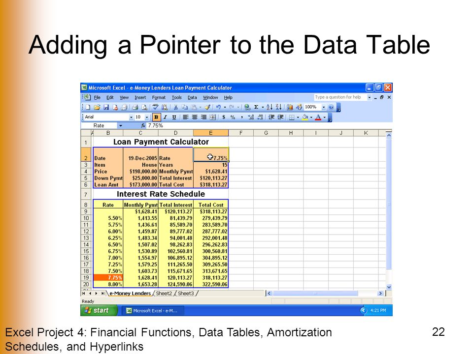 Excel Project 4: Financial Functions, Data Tables, Amortization Schedules, and Hyperlinks 22 Adding a Pointer to the Data Table