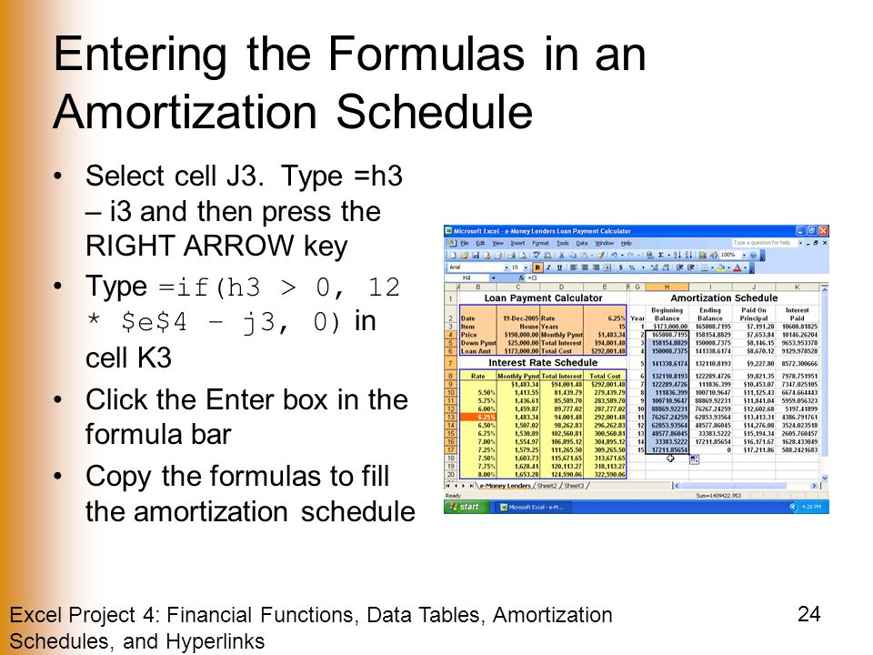 Excel Project 4: Financial Functions, Data Tables, Amortization Schedules, and Hyperlinks 24 Entering the Formulas in an Amortization Schedule Select cell J3.