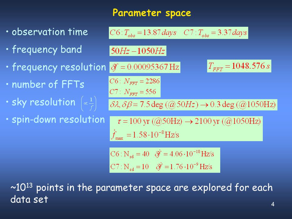 4 Parameter space observation time frequency band frequency resolution number of FFTs sky resolution spin-down resolution ~10 13 points in the paramet