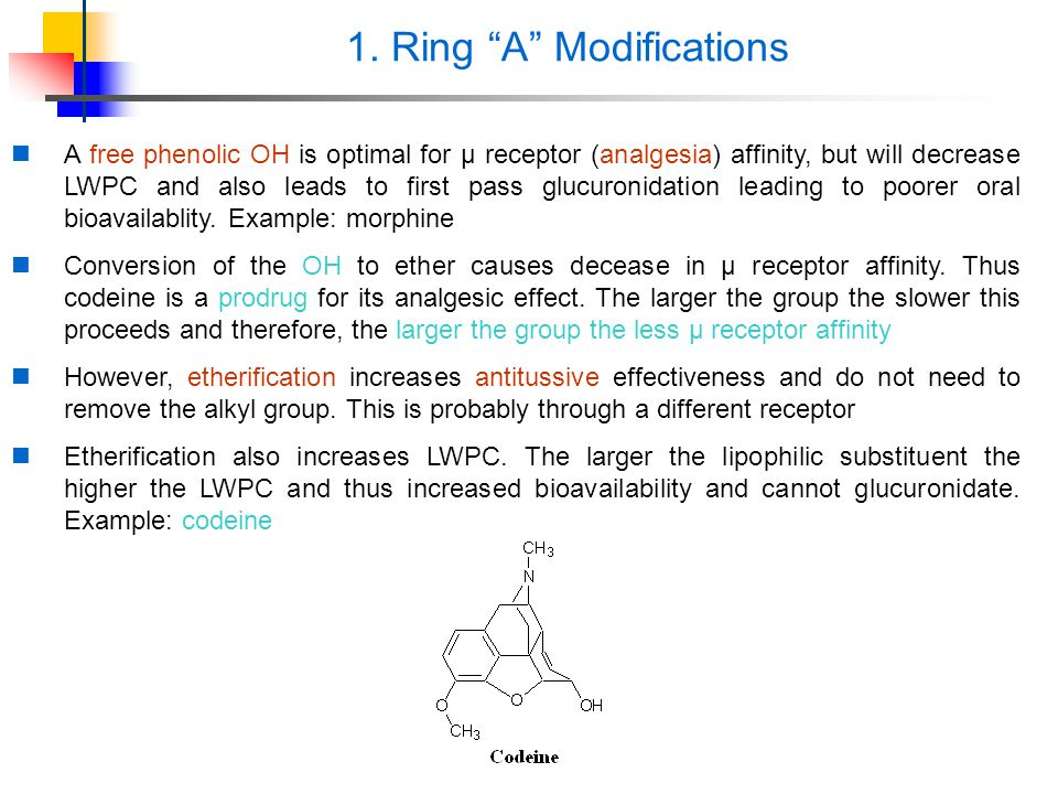 """1. Ring """"A"""" Modifications A free phenolic OH is optimal for μ receptor (analgesia) affinity, but will decrease LWPC and also leads to first pass glucu"""