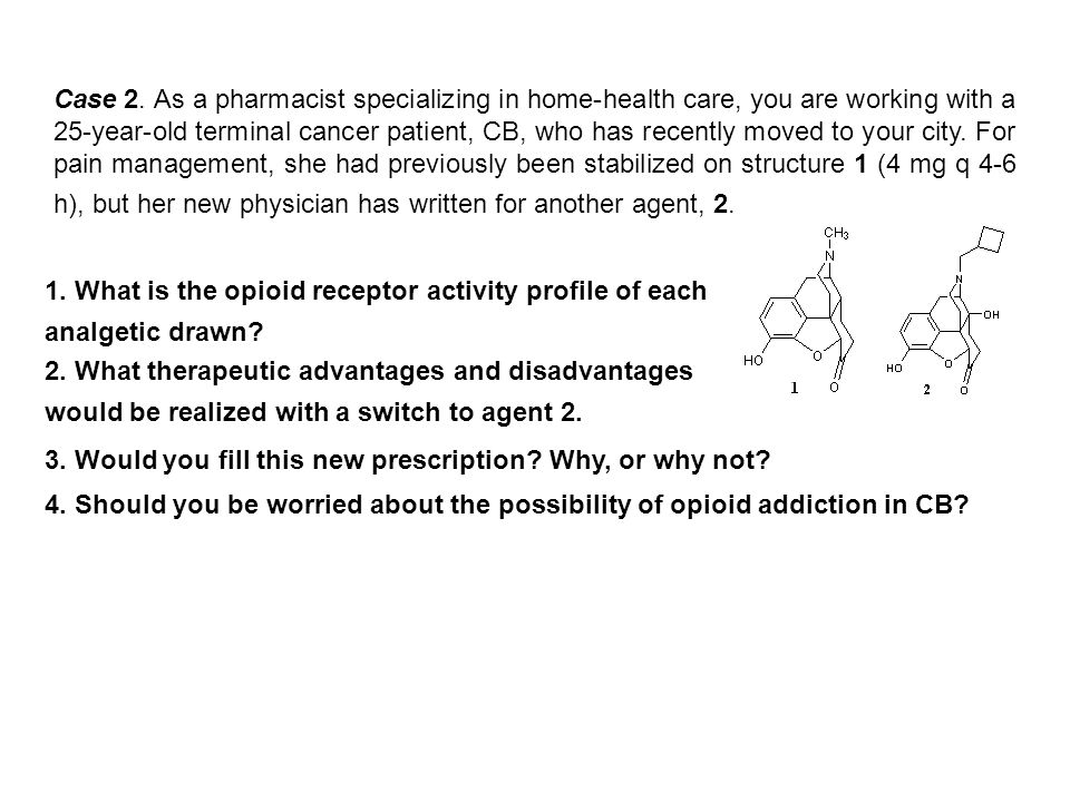 Case 2. As a pharmacist specializing in home-health care, you are working with a 25-year-old terminal cancer patient, CB, who has recently moved to yo