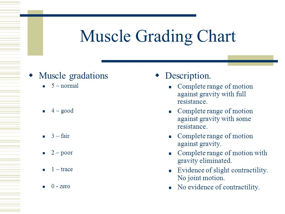 Muscle Grading Chart  Muscle gradations 5 – normal 4 – good 3 – fair 2 – poor 1 – trace 0 - zero  Description.