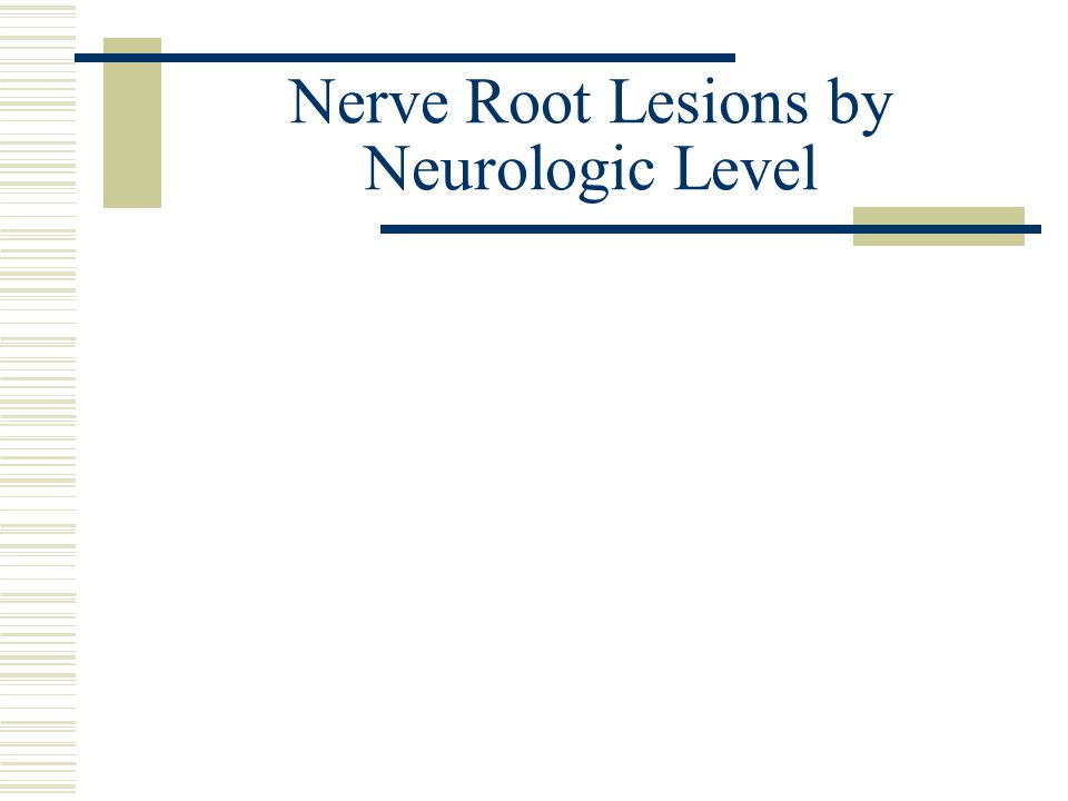 Nerve Root Lesions by Neurologic Level