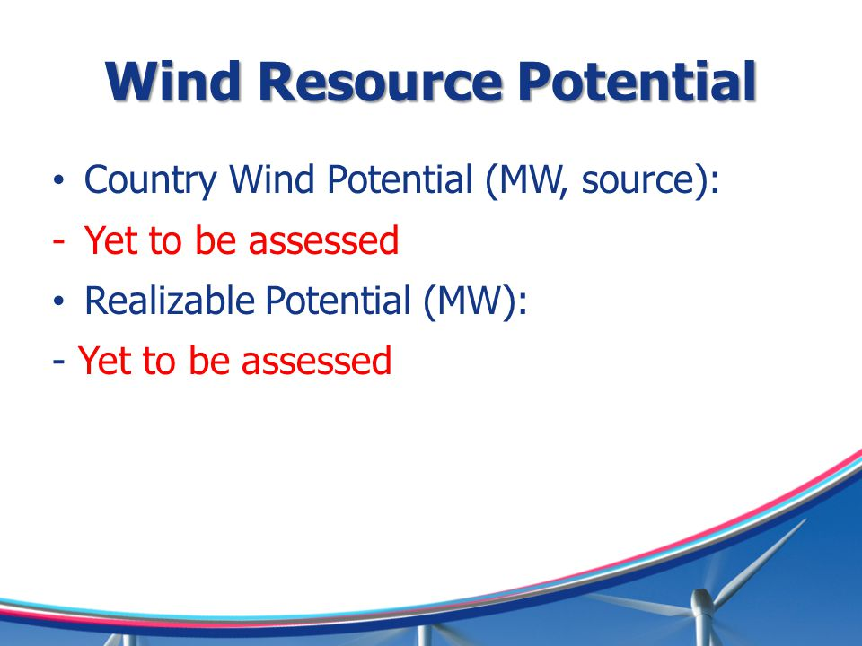 Wind Resource Potential Country Wind Potential (MW, source): -Yet to be assessed Realizable Potential (MW): - Yet to be assessed
