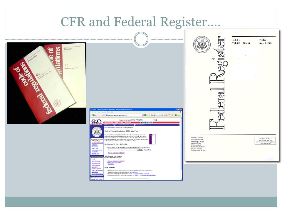 CFR and Federal Register….
