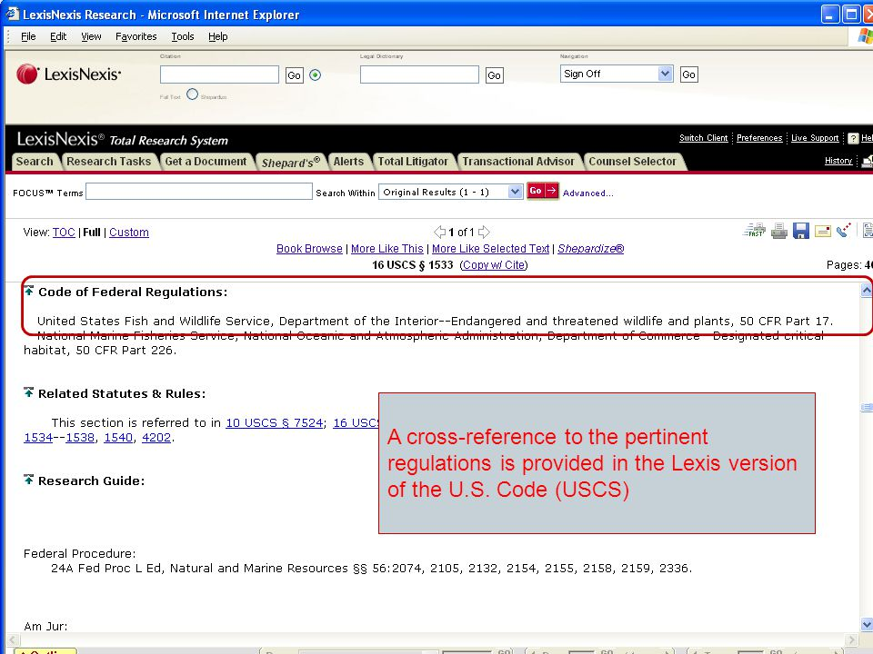 A cross-reference to the pertinent regulations is provided in the Lexis version of the U.S.