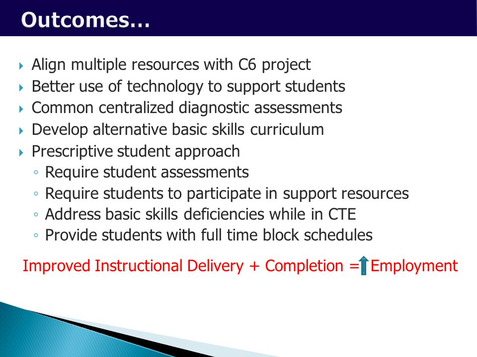 Capital Investments  Align multiple resources with C6 project  Better use of technology to support students  Common centralized diagnostic assessments  Develop alternative basic skills curriculum  Prescriptive student approach ◦ Require student assessments ◦ Require students to participate in support resources ◦ Address basic skills deficiencies while in CTE ◦ Provide students with full time block schedules Improved Instructional Delivery + Completion = Employment