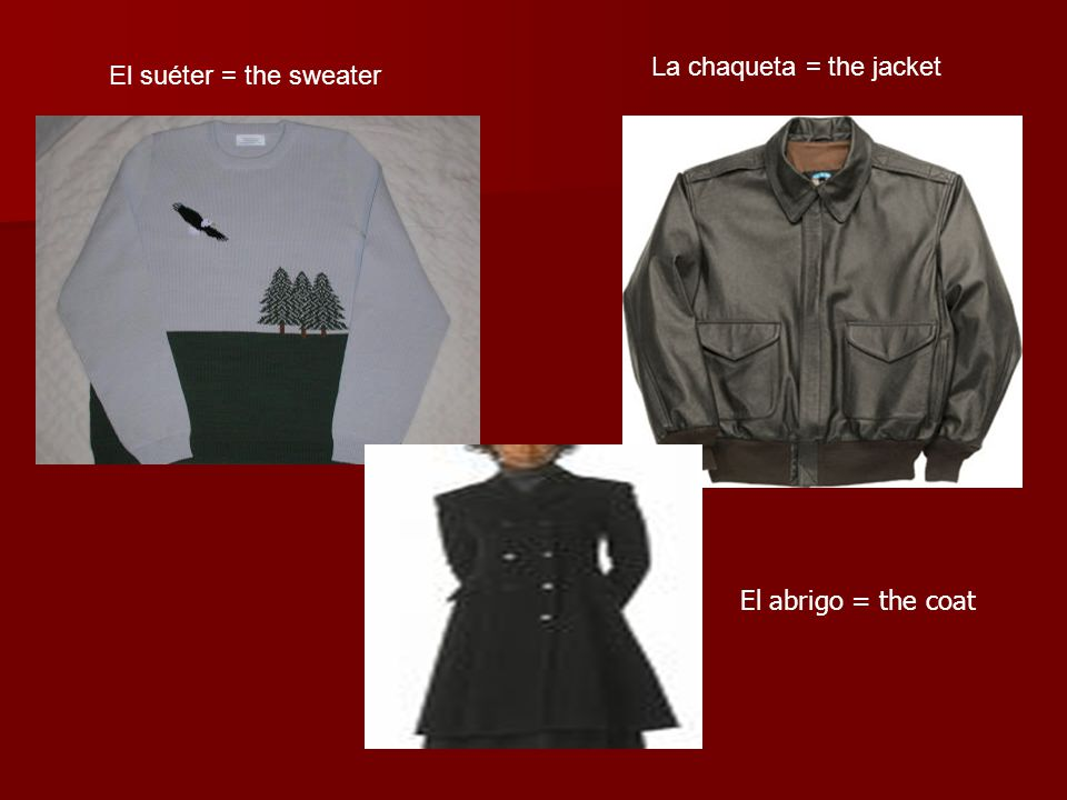 La chaqueta = the jacket El suéter = the sweater El abrigo = the coat