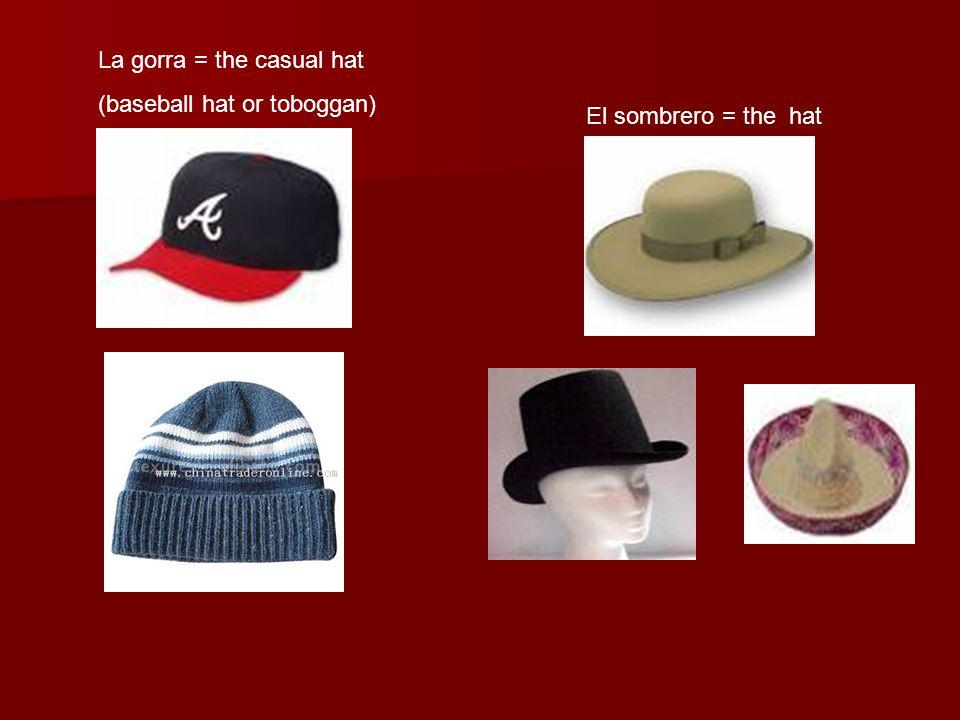 La gorra = the casual hat (baseball hat or toboggan) El sombrero = the hat
