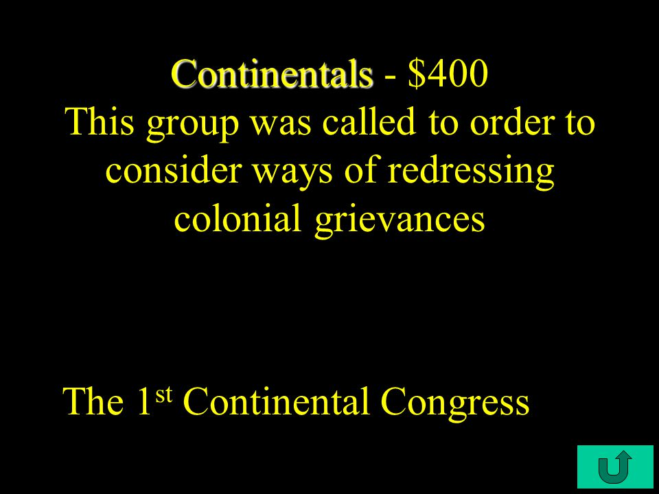 C4-$300 Continentals Continentals - $300 In order to for this economic theory to take root; Britain had to regulate colonial shipping and tobacco production in their colonies.