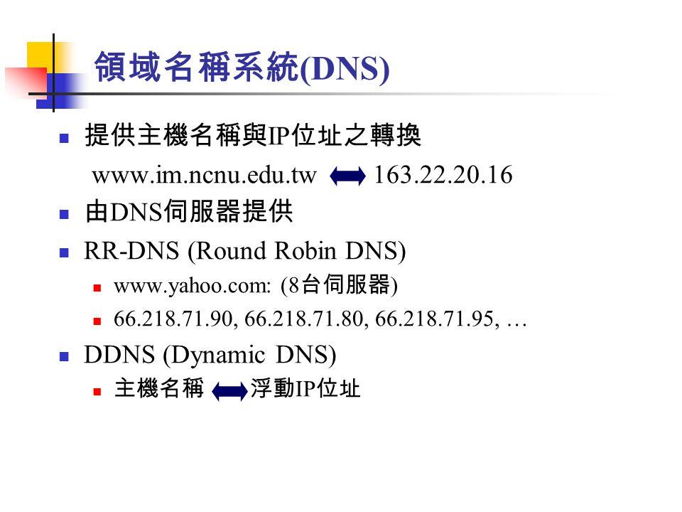 領域名稱系統 (DNS) 提供主機名稱與 IP 位址之轉換 www.im.ncnu.edu.tw 163.22.20.16 由 DNS 伺服器提供 RR-DNS (Round Robin DNS) www.yahoo.com: (8 台伺服器 ) 66.218.71.90, 66.218.71.80, 66.218.71.95, … DDNS (Dynamic DNS) 主機名稱 浮動 IP 位址