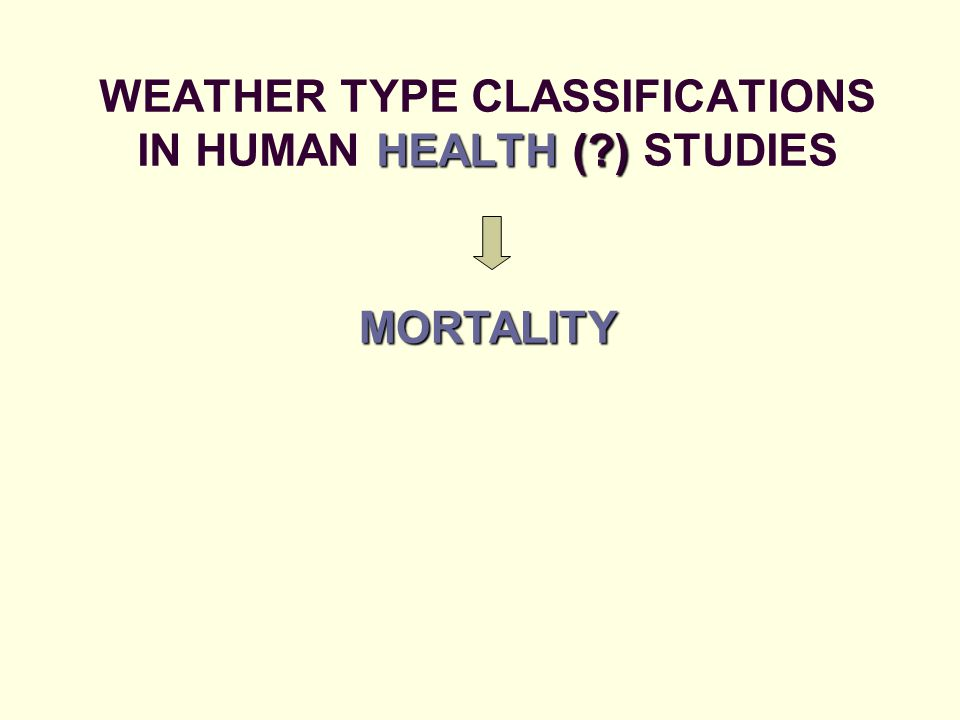 HEALTH ( ) WEATHER TYPE CLASSIFICATIONS IN HUMAN HEALTH ( ) STUDIES MORTALITY