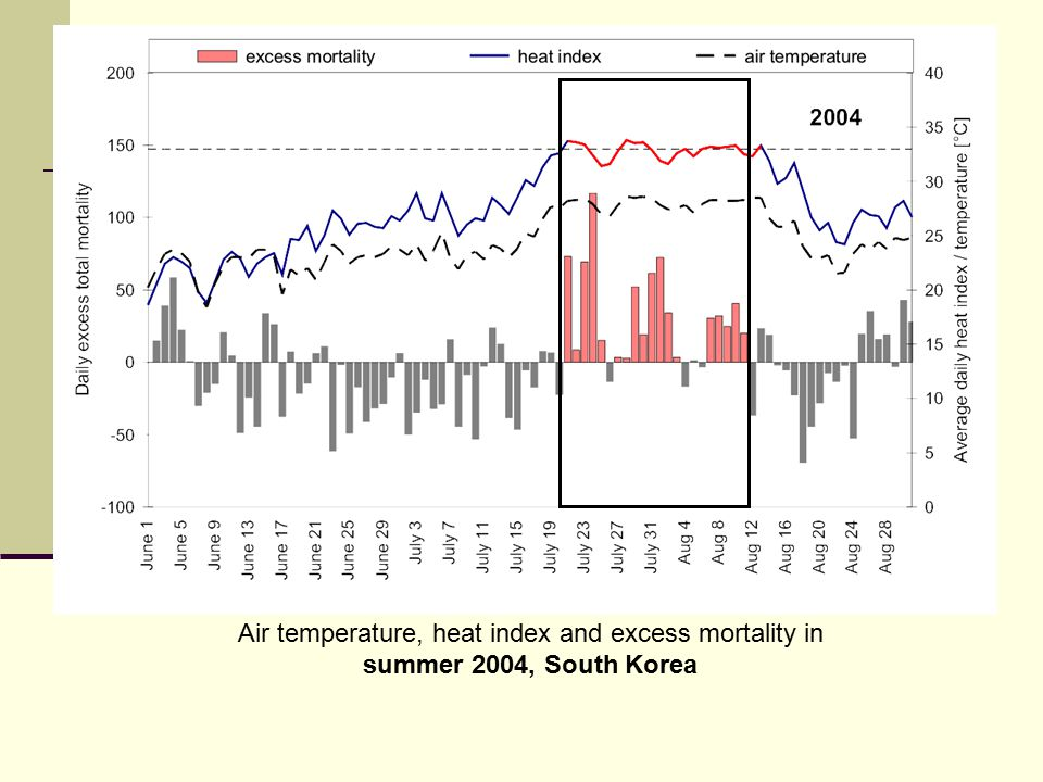 Air temperature, heat index and excess mortality in summer 2004, South Korea