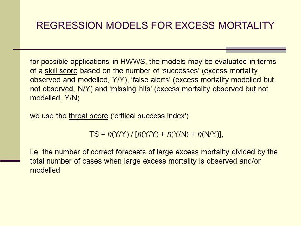 REGRESSION MODELS FOR EXCESS MORTALITY for possible applications in HWWS, the models may be evaluated in terms of a skill score based on the number of 'successes' (excess mortality observed and modelled, Y/Y), 'false alerts' (excess mortality modelled but not observed, N/Y) and 'missing hits' (excess mortality observed but not modelled, Y/N) we use the threat score ('critical success index') TS = n(Y/Y) / [n(Y/Y) + n(Y/N) + n(N/Y)], i.e.