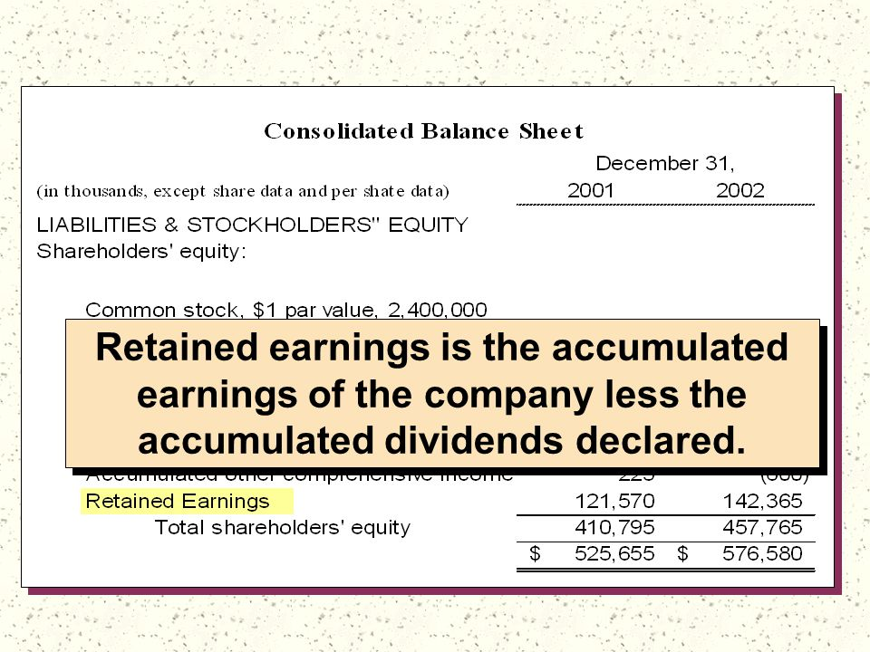 Retained earnings is the accumulated earnings of the company less the accumulated dividends declared.