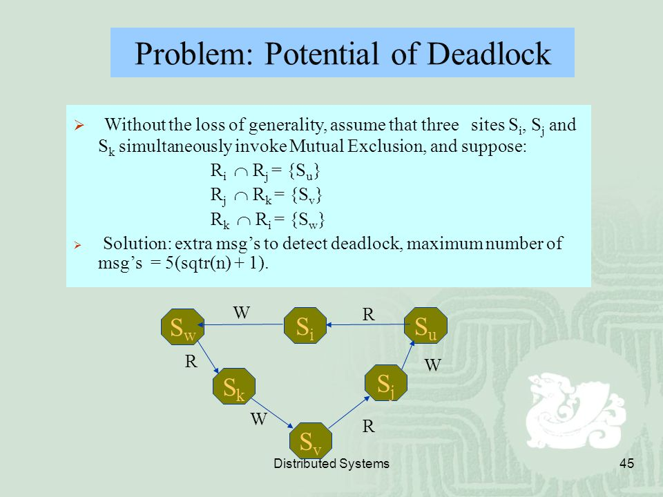 Distributed Systems45 Problem: Potential of Deadlock  Without the loss of generality, assume that three sites S i, S j and S k simultaneously invoke