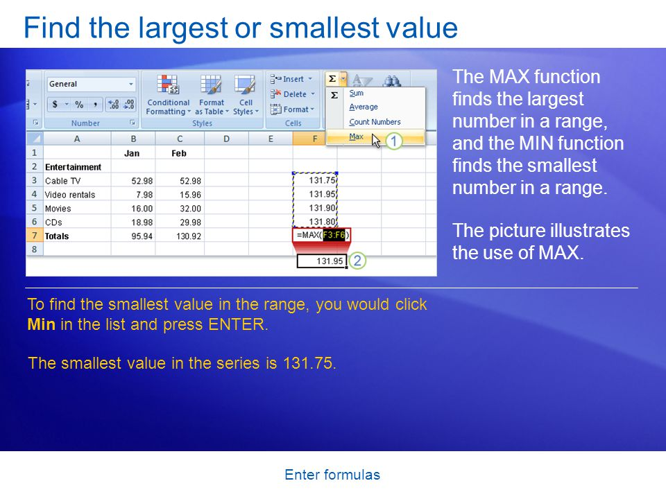 Enter formulas Find the largest or smallest value The MAX function finds the largest number in a range, and the MIN function finds the smallest number in a range.
