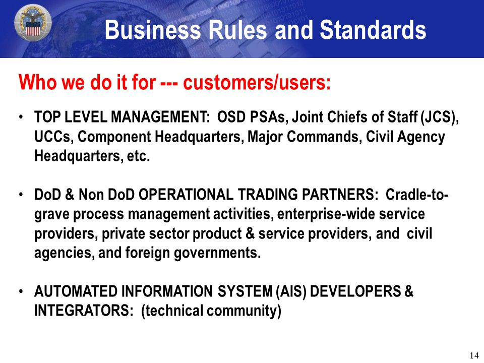 14 Business Rules and Standards Who we do it for --- customers/users: TOP LEVEL MANAGEMENT: OSD PSAs, Joint Chiefs of Staff (JCS), UCCs, Component Headquarters, Major Commands, Civil Agency Headquarters, etc.