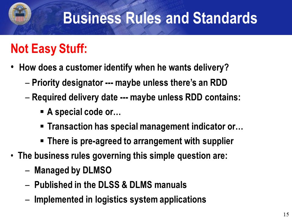 15 Business Rules and Standards Not Easy Stuff: How does a customer identify when he wants delivery.