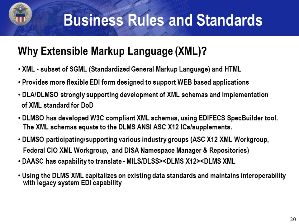 20 Business Rules and Standards Why Extensible Markup Language (XML).