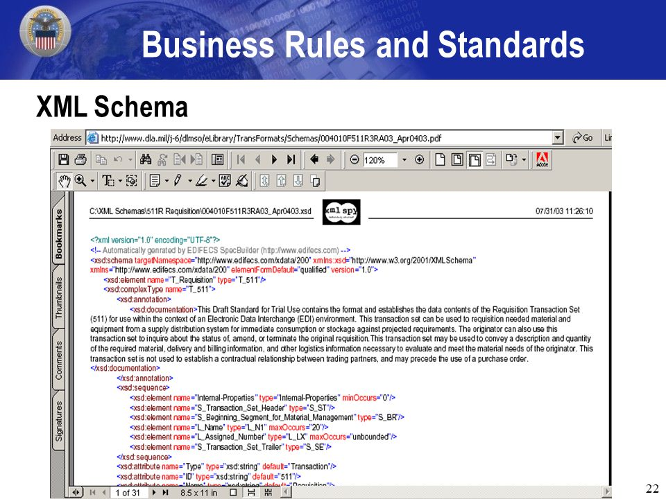 22 Business Rules and Standards XML Schema