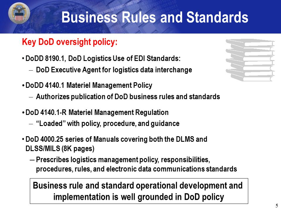 5 Business Rules and Standards Key DoD oversight policy: DoDD 8190.1, DoD Logistics Use of EDI Standards: – DoD Executive Agent for logistics data interchange DoDD 4140.1 Materiel Management Policy – Authorizes publication of DoD business rules and standards DoD 4140.1-R Materiel Management Regulation – Loaded with policy, procedure, and guidance DoD 4000.25 series of Manuals covering both the DLMS and DLSS/MILS (8K pages) ― Prescribes logistics management policy, responsibilities, procedures, rules, and electronic data communications standards Business rule and standard operational development and implementation is well grounded in DoD policy