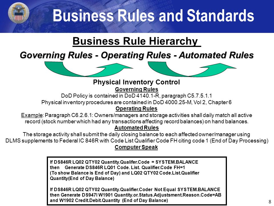 8 Business Rule Hierarchy Physical Inventory Control Governing Rules DoD Policy is contained in DoD 4140.1-R, paragraph C5.7.5.1.1 Physical inventory procedures are contained in DoD 4000.25-M, Vol 2, Chapter 6 Operating Rules Example: Paragraph C6.2.6.1: Owners/managers and storage activities shall daily match all active record (stock number which had any transactions affecting record balances) on hand balances.