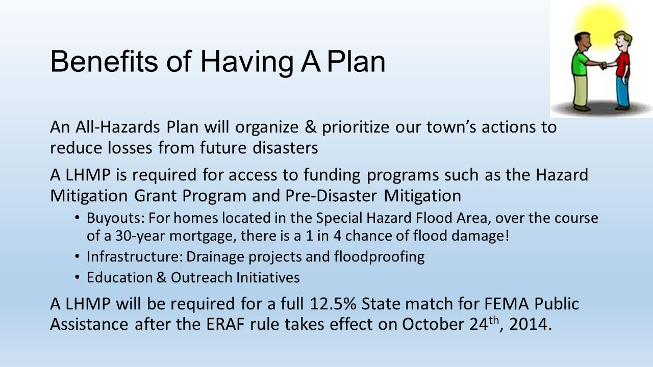 Benefits of Having A Plan An All-Hazards Plan will organize & prioritize our town's actions to reduce losses from future disasters A LHMP is required for access to funding programs such as the Hazard Mitigation Grant Program and Pre-Disaster Mitigation Buyouts: For homes located in the Special Hazard Flood Area, over the course of a 30-year mortgage, there is a 1 in 4 chance of flood damage.