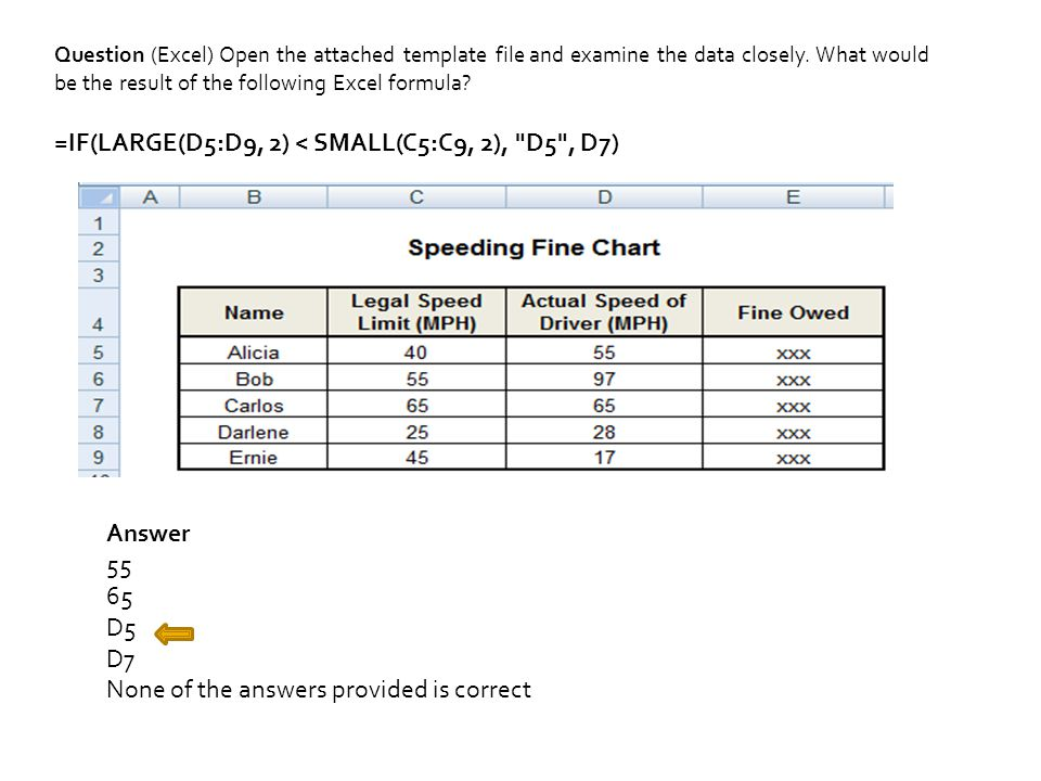 Question (Excel) Open the attached template file and examine the data closely.