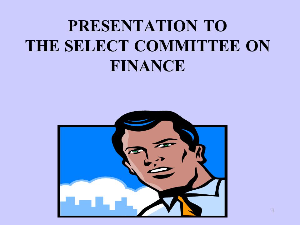 1 PRESENTATION TO THE SELECT COMMITTEE ON FINANCE